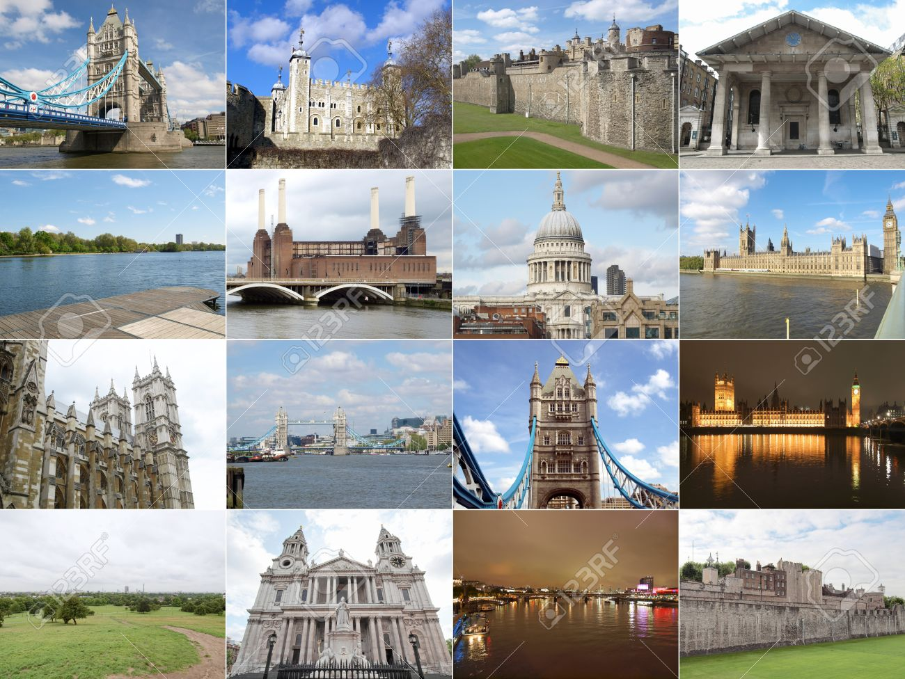 Famous Landmarks And Monuments Collage London England UK Stock Photo