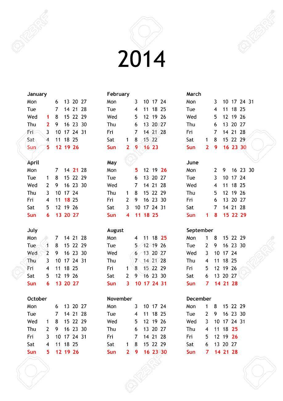 English Calendar 2014 With Holidays Year 2014 Calendar in English