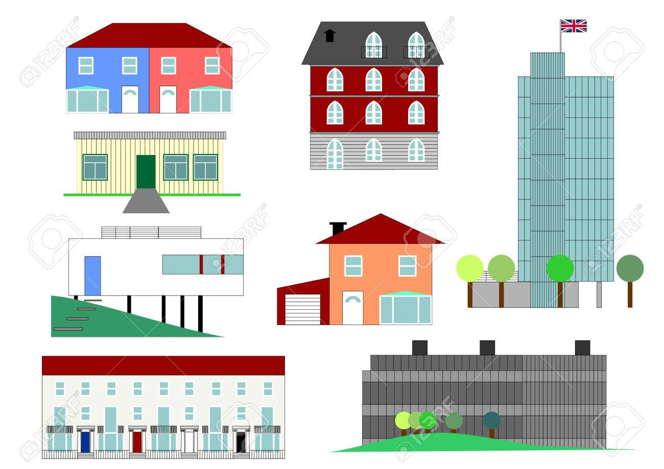 Set Of House Illustrations In Different rchitectural Styles Stock ... - ^
