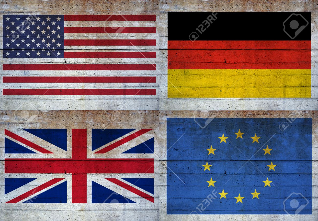 Flaggen Der Vereinigten Staaten, Großbritannien, Europa Und ...