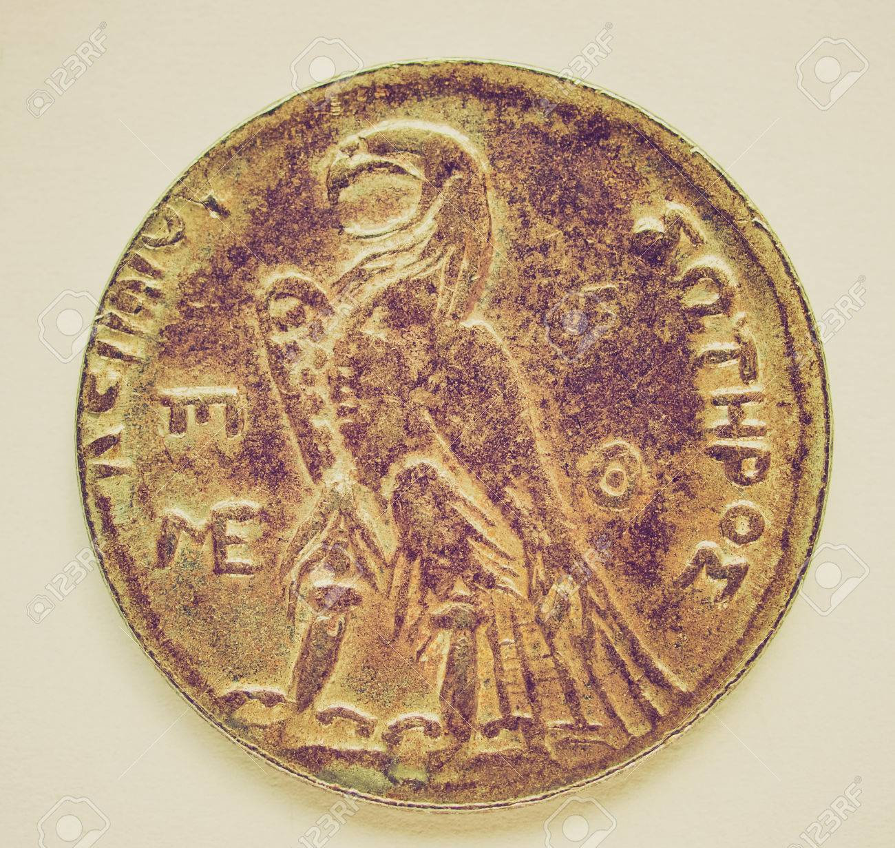 Weinlese Die Antike Griechische Münzen Auf Einem Hellen Hintergrund