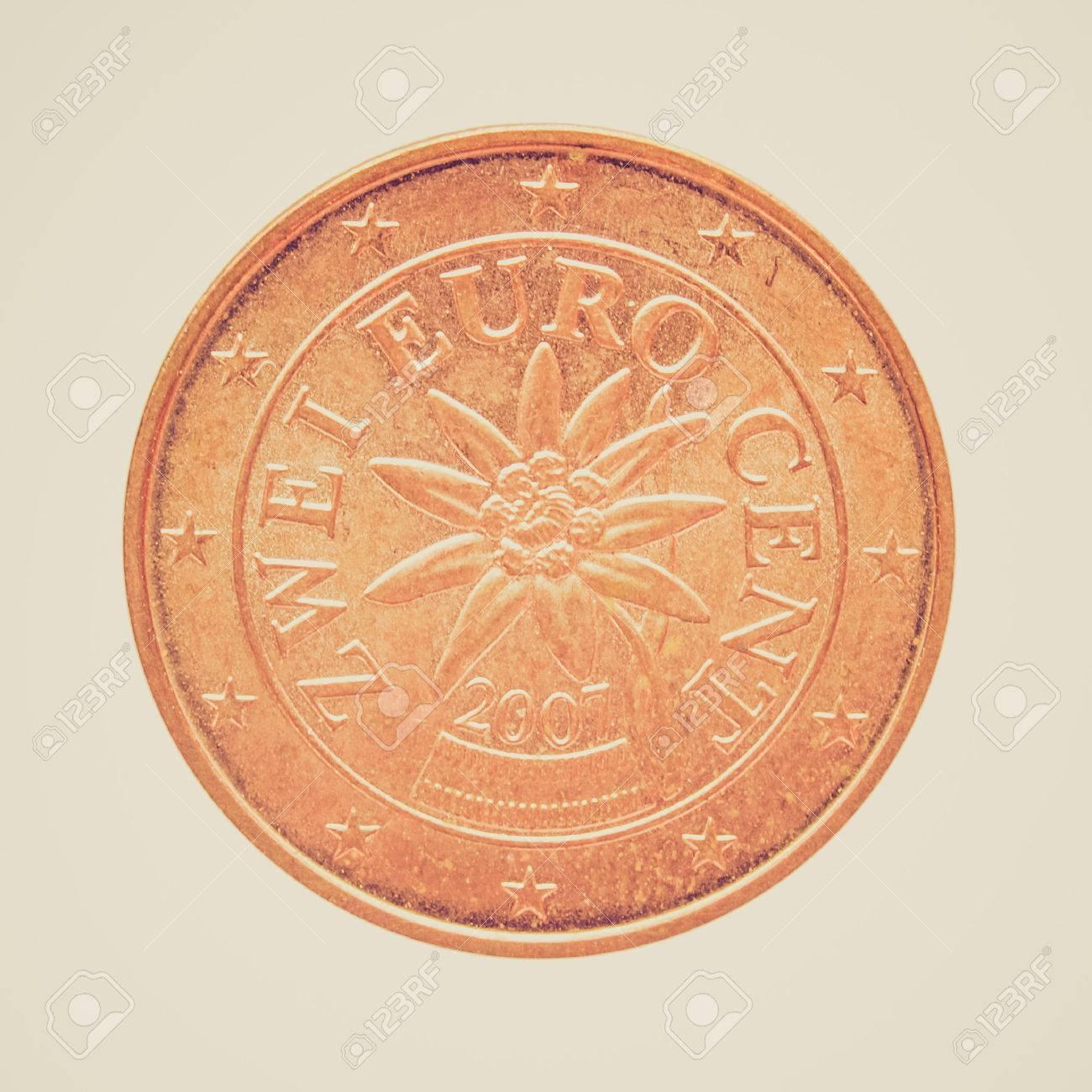 Weinlese Die Zwei Euro Cent Münze Geld Von österreich Mit Edelweiß