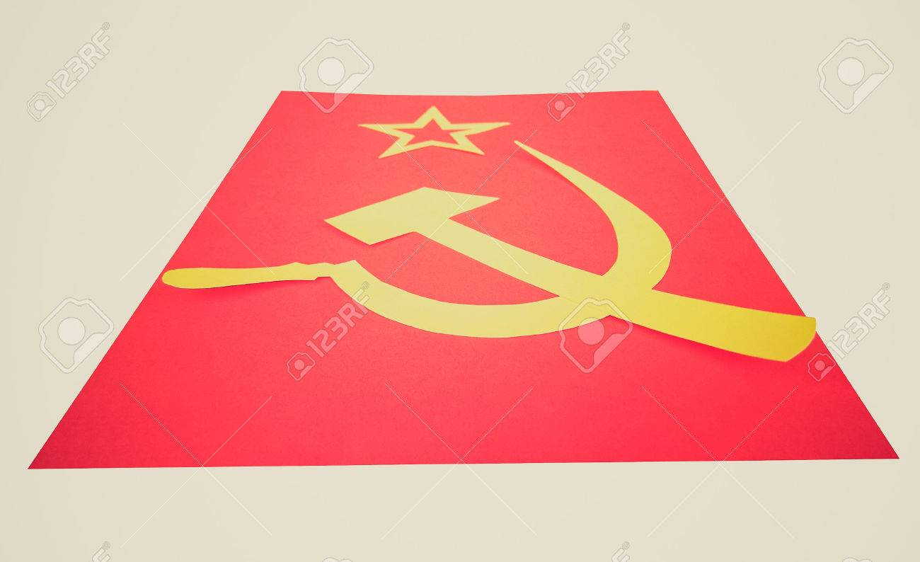 Vintage looking communist cccp flag with hammer and sickle vintage looking communist cccp flag with hammer and sickle symbols of communism yellow over biocorpaavc Gallery