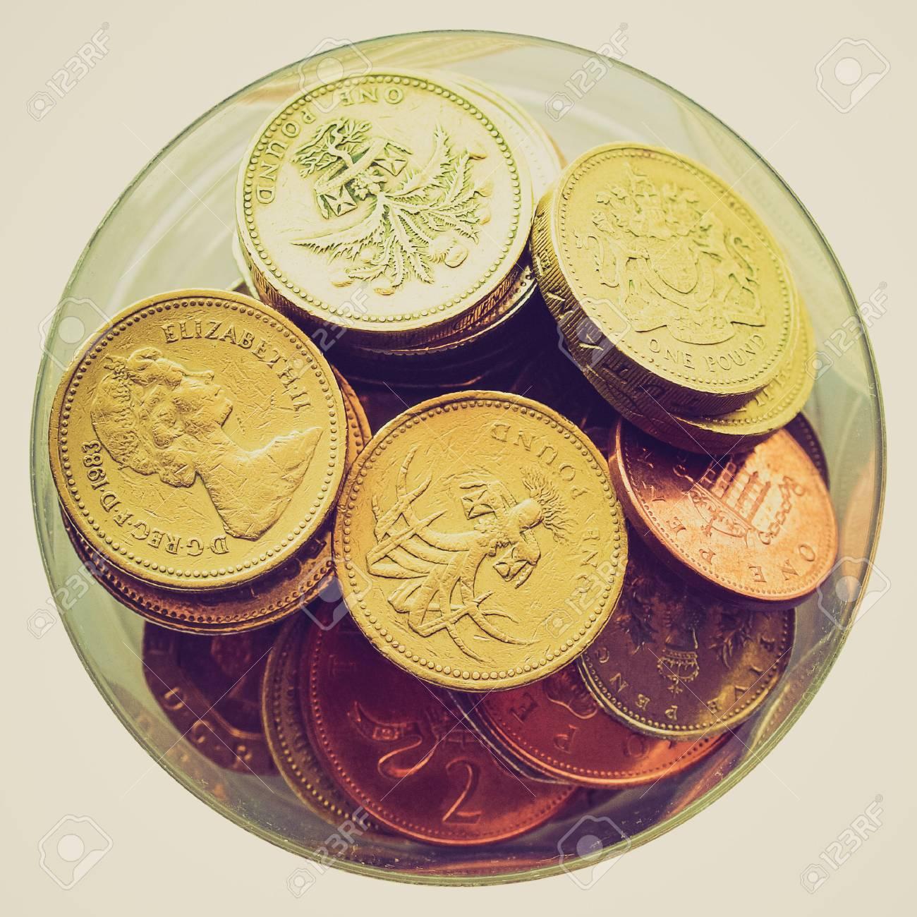 Weinlese Die Britische Pfund Münzen Währung Des Vereinigten