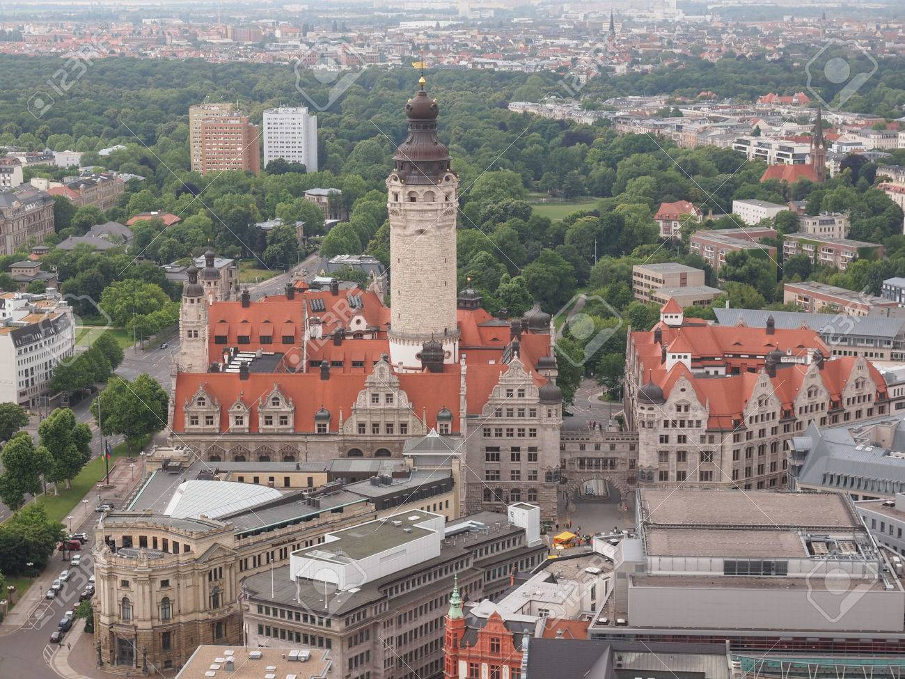 Aerial View Of The Leipzig Neues Rathaus Meaning New Town Hall Stock Photo Picture And Royalty Free Image Image 29700536