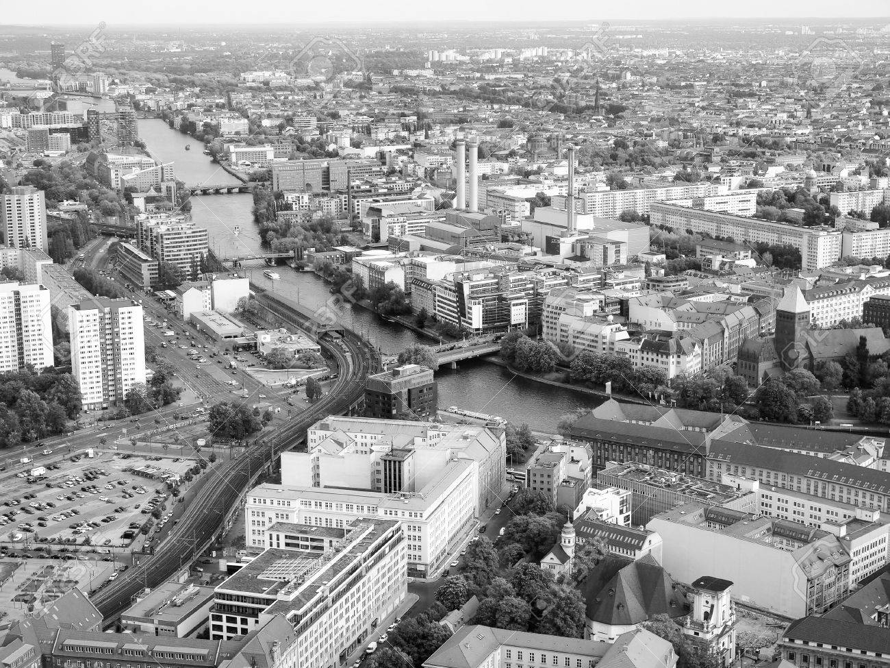 Aerial View Of The City Berlin In Germany Black And White Stock Photo