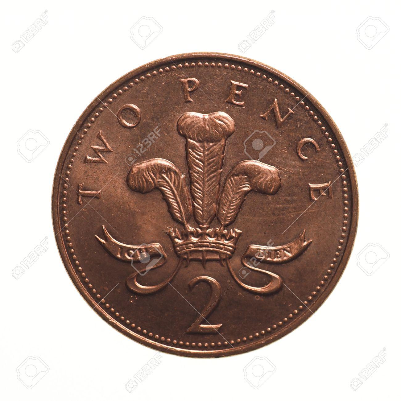 Pfund Münze 2 Pence Währung Des Vereinigten Königreichs über