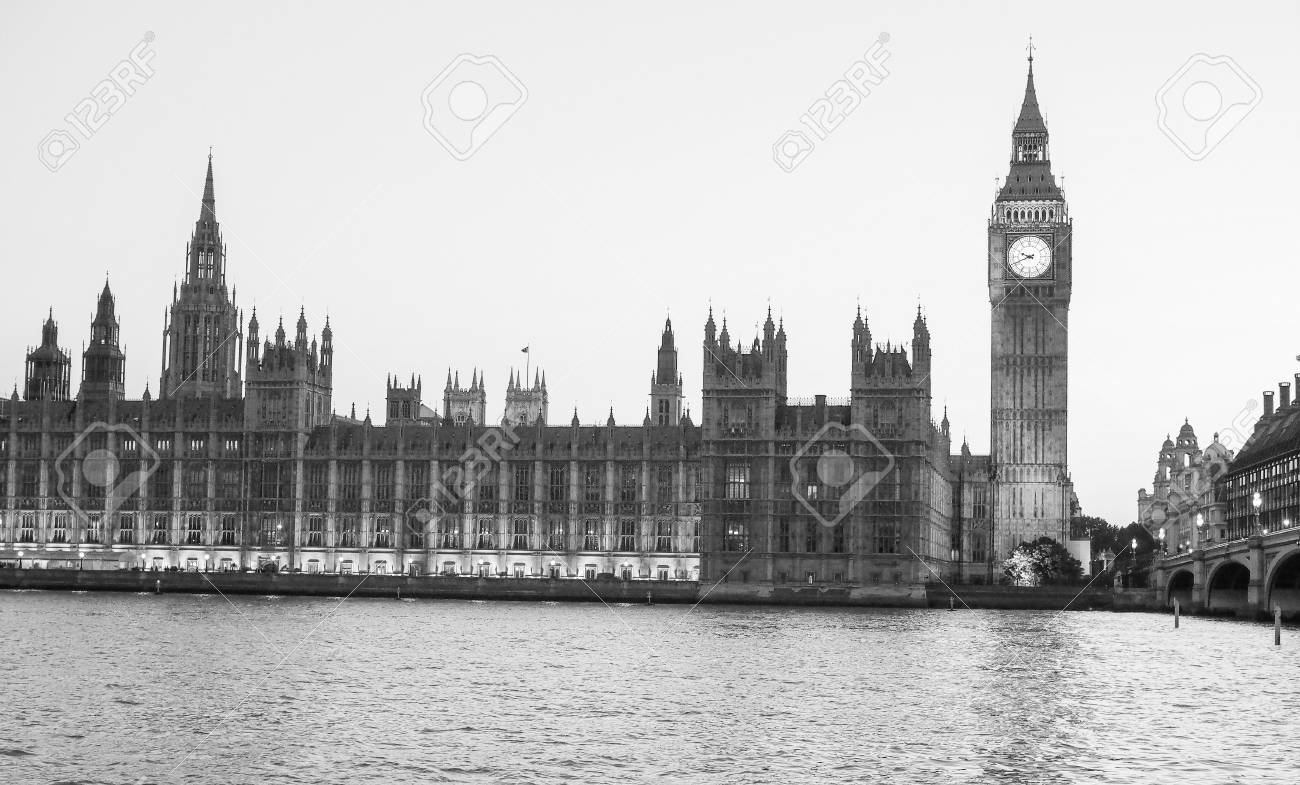 Houses of parliament aka westminster palace at night in london uk in black and white