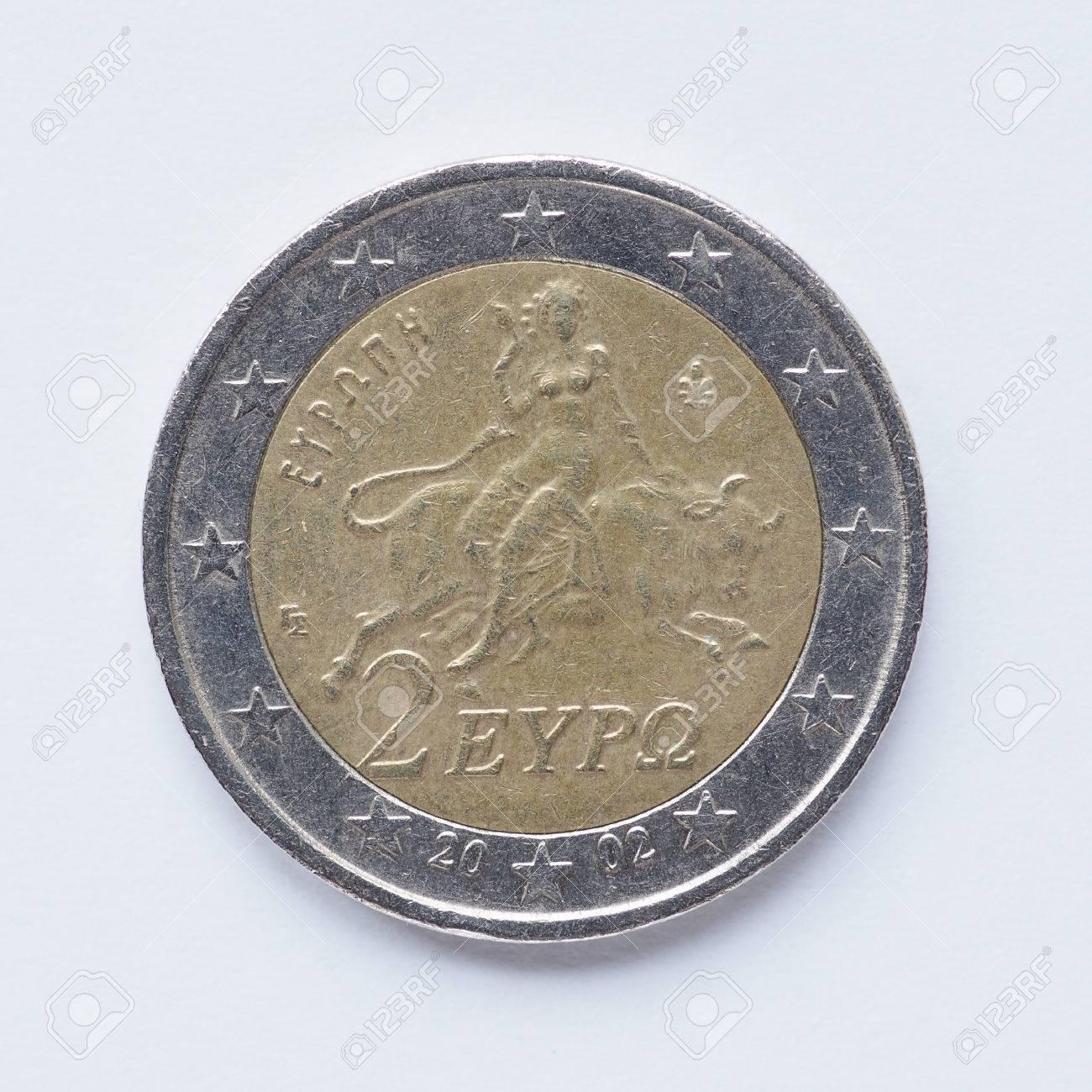 Währung Europas 2 Euro Münze Aus Griechenland Lizenzfreie Fotos
