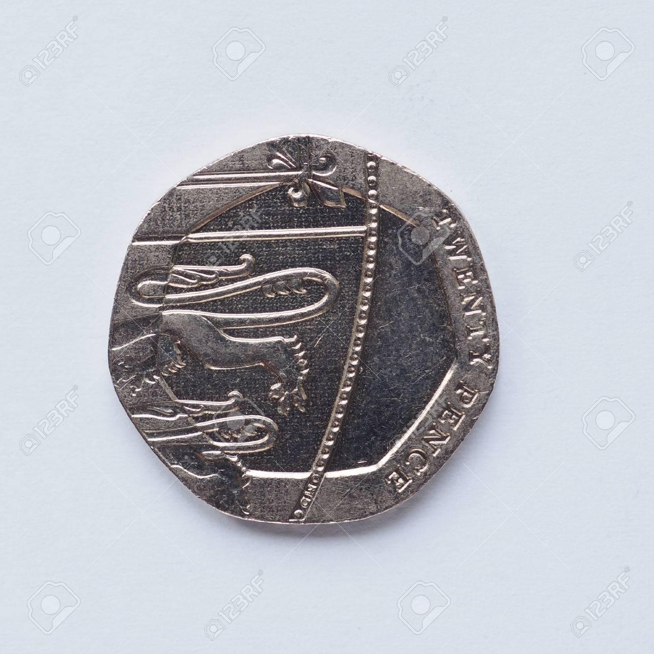 Währung Des Vereinigten Königreichs 20 Pence Münze Lizenzfreie Fotos