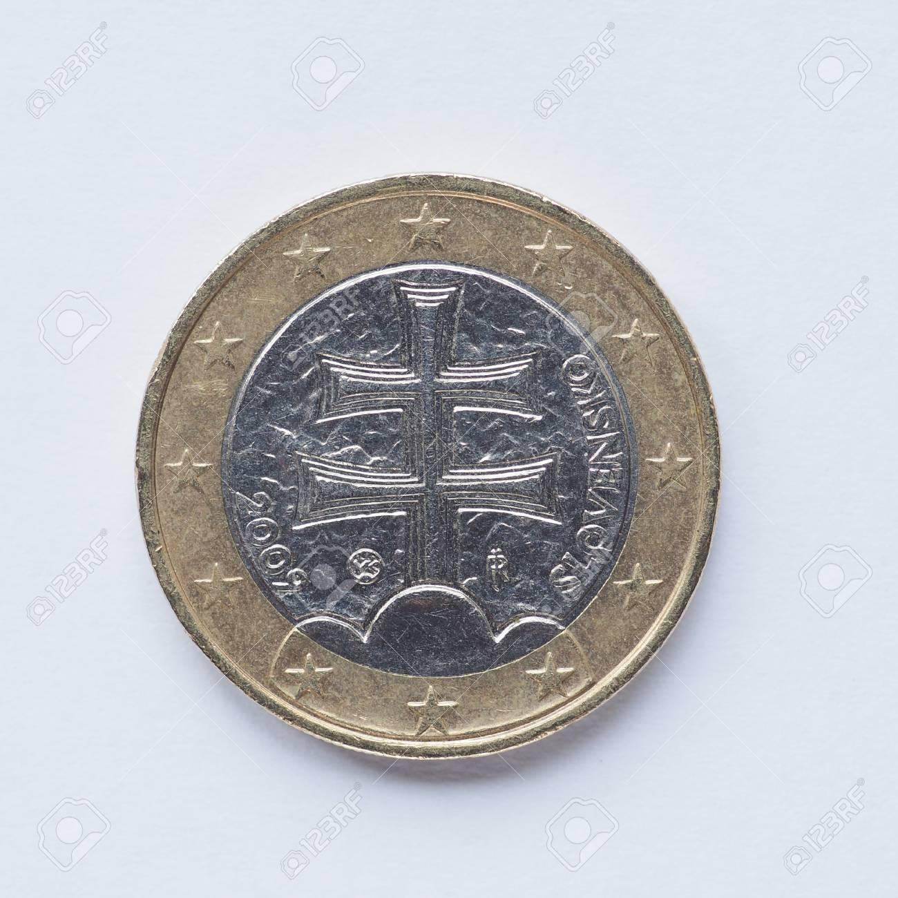 Währung Von Europa 1 Euro Münze Aus Slowenien Lizenzfreie Fotos