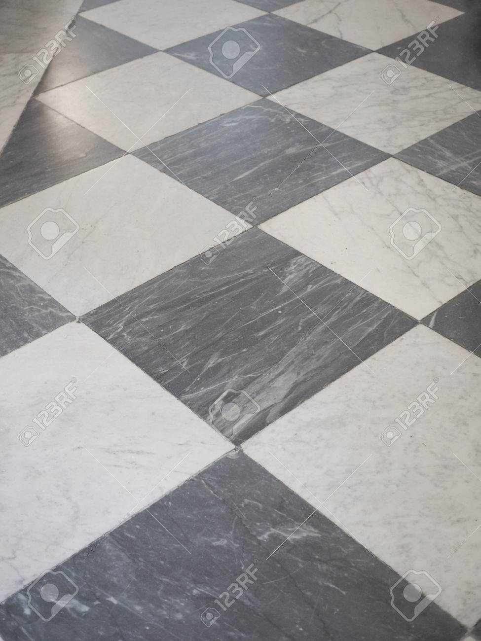 Black And White Marble Checkered Floor Background Texture Stock