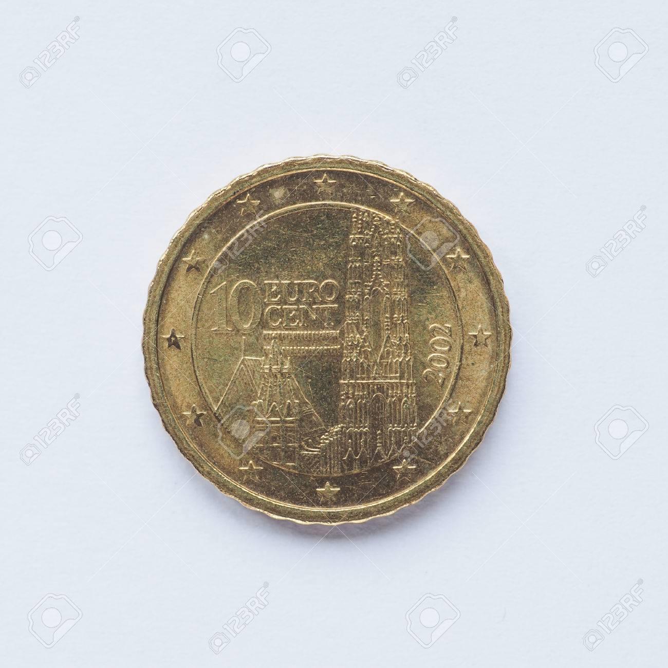 Währung Europas 10 Cent Münze Aus österreich Lizenzfreie Fotos