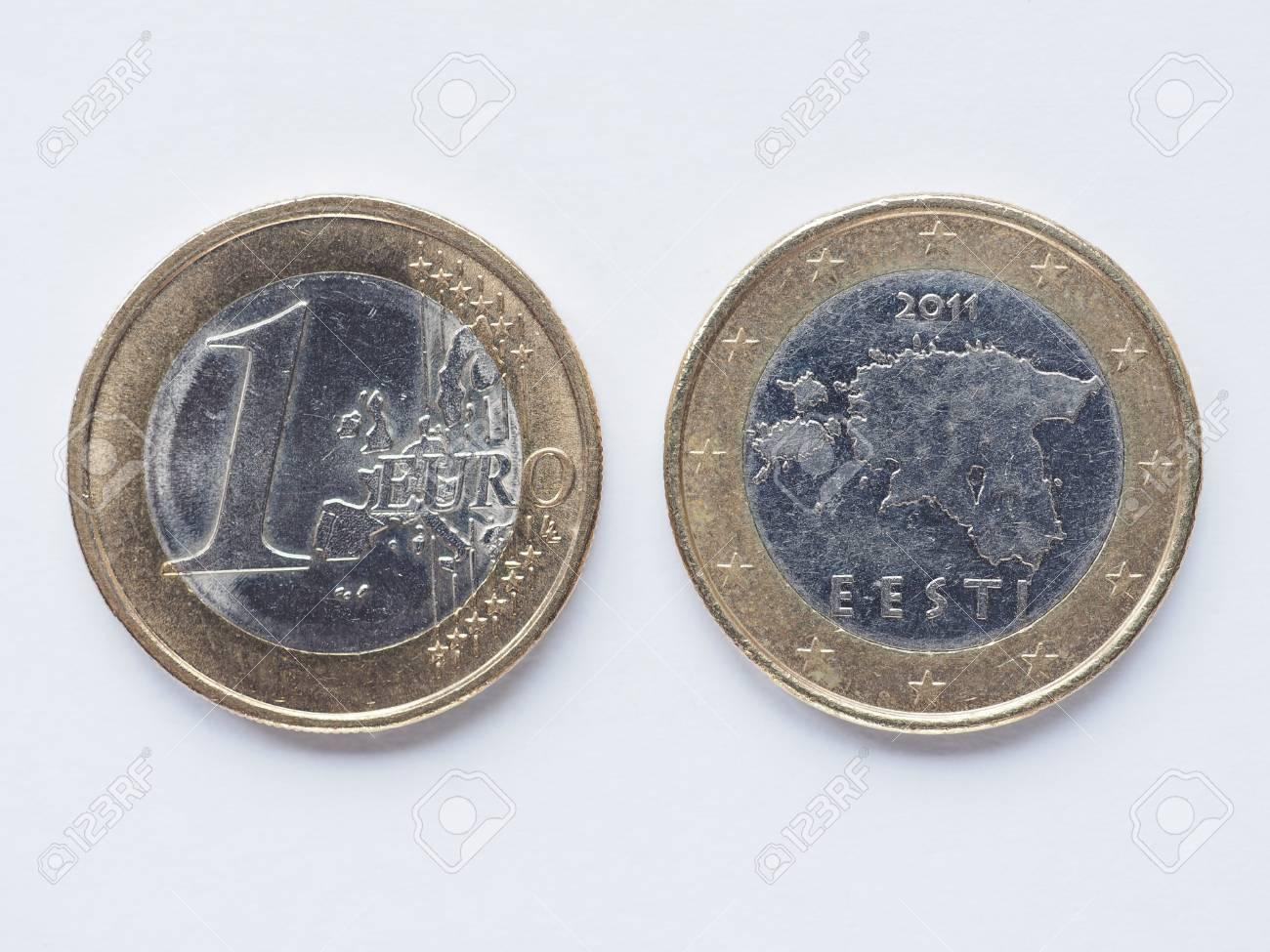 Währung Von Europa 1 Euro Münze Aus Estland Lizenzfreie Fotos