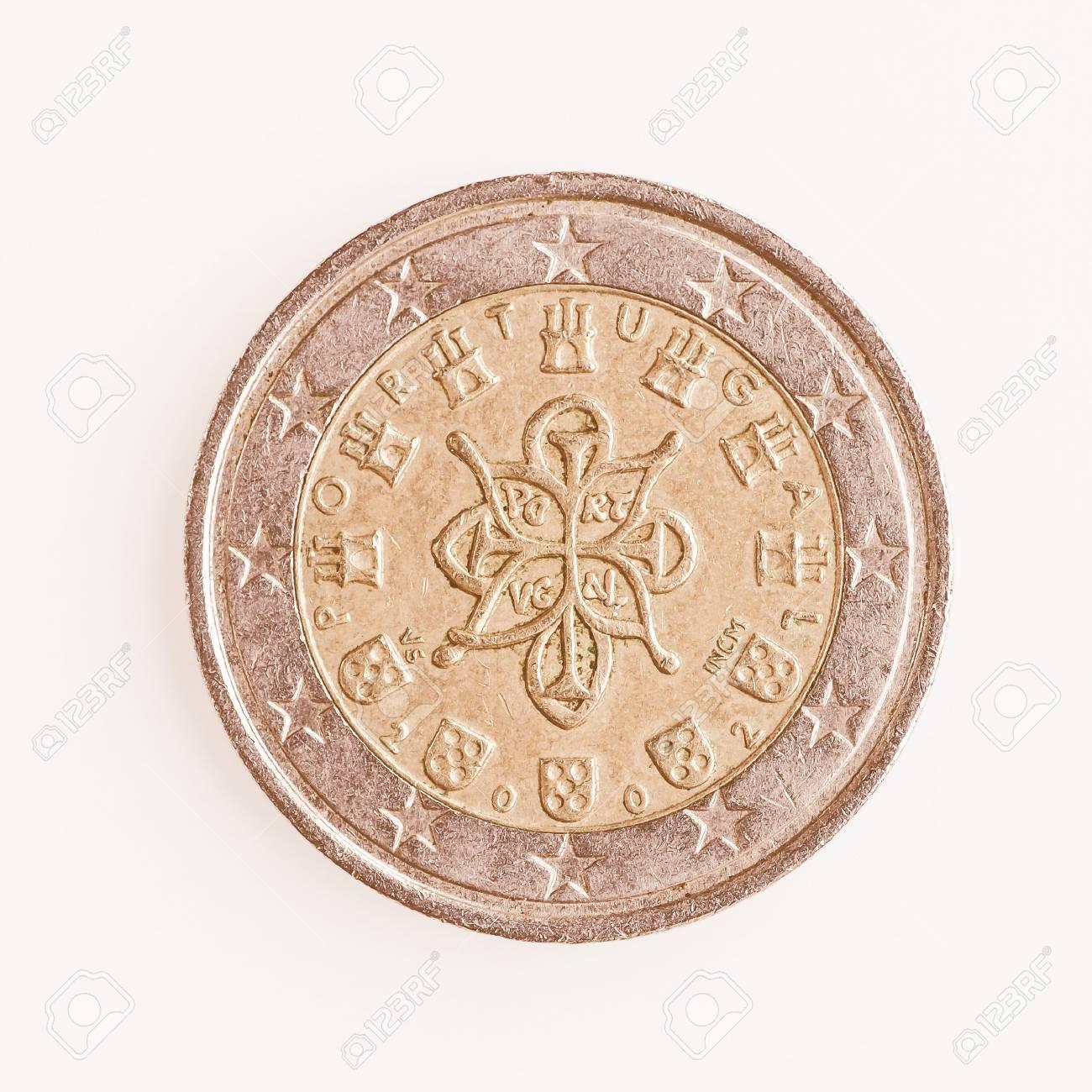Währungs Europas 2 Euro Münze Aus Portugal Vintage Lizenzfreie Fotos