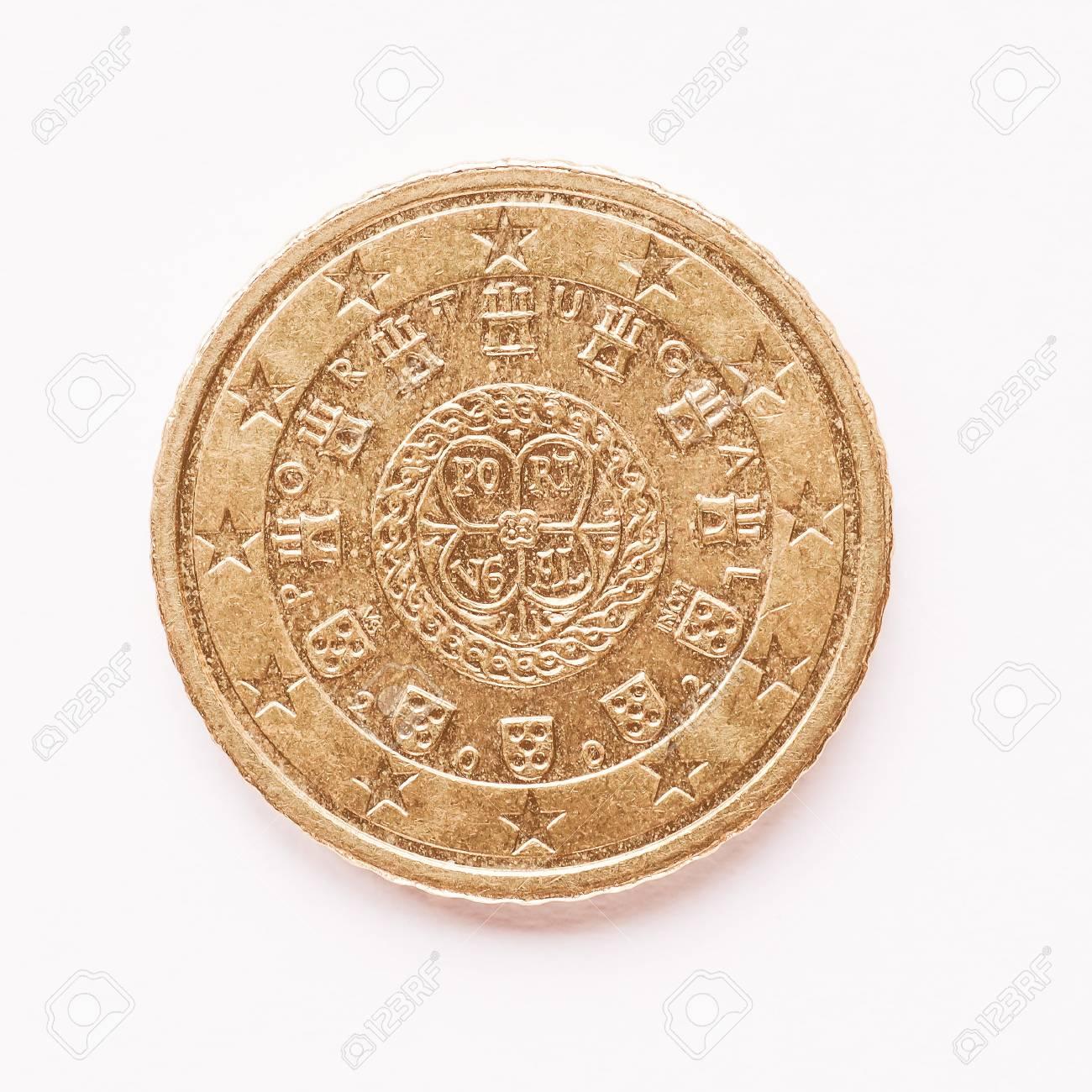 Währung Europas 50 Cent Münze Von Portugal Jahrgang Lizenzfreie
