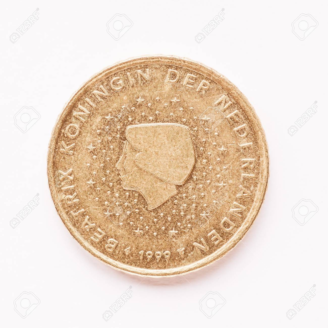 Währung Von Europa 50 Cent Münze Aus Den Niederlanden Jahrgang