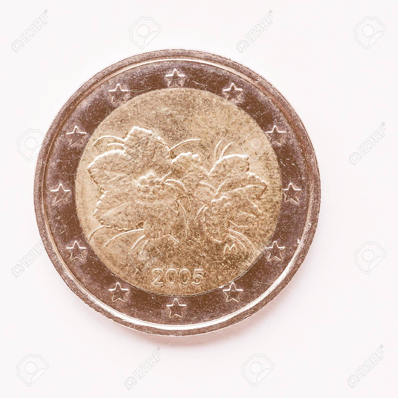 Währung Europas 2 Euro Münze Aus Finnland Jahrgang Lizenzfreie