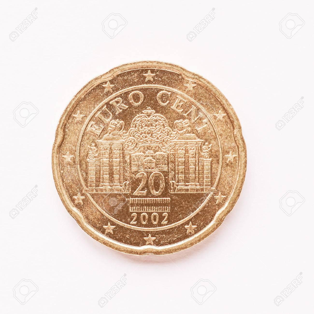 Währung Europa 20 Cent Münze Aus österreich Jahrgang Lizenzfreie
