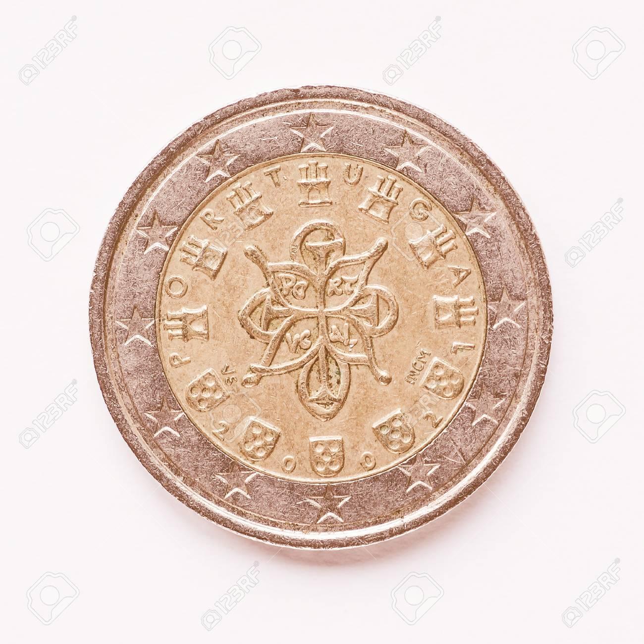 Währung Von Europa 2 Euro Münze Aus Portugal Vintage Lizenzfreie