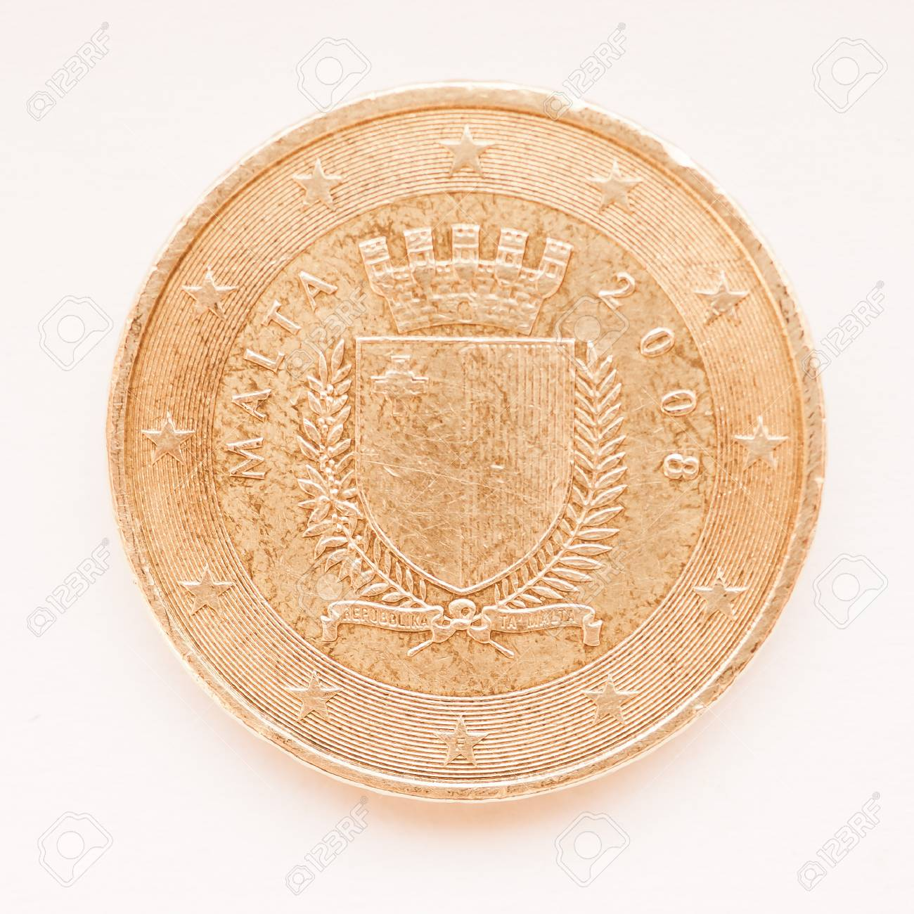Maltese 50 Euro Cent Münze Aus Malta Währung Der Europäischen Union