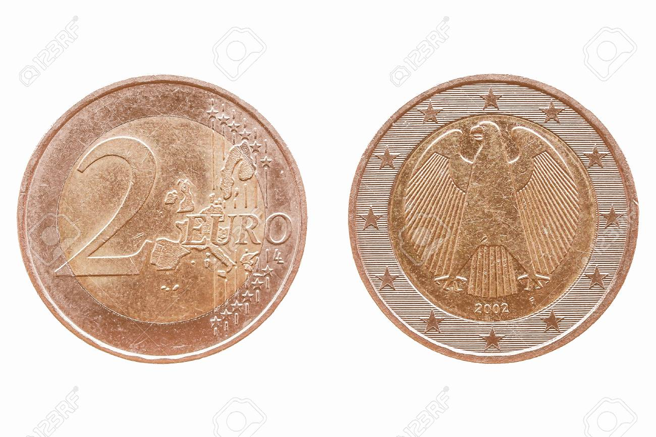 Zwei Euro Münze Isoliert über Weiß Vorder Und Rückseite Vintage