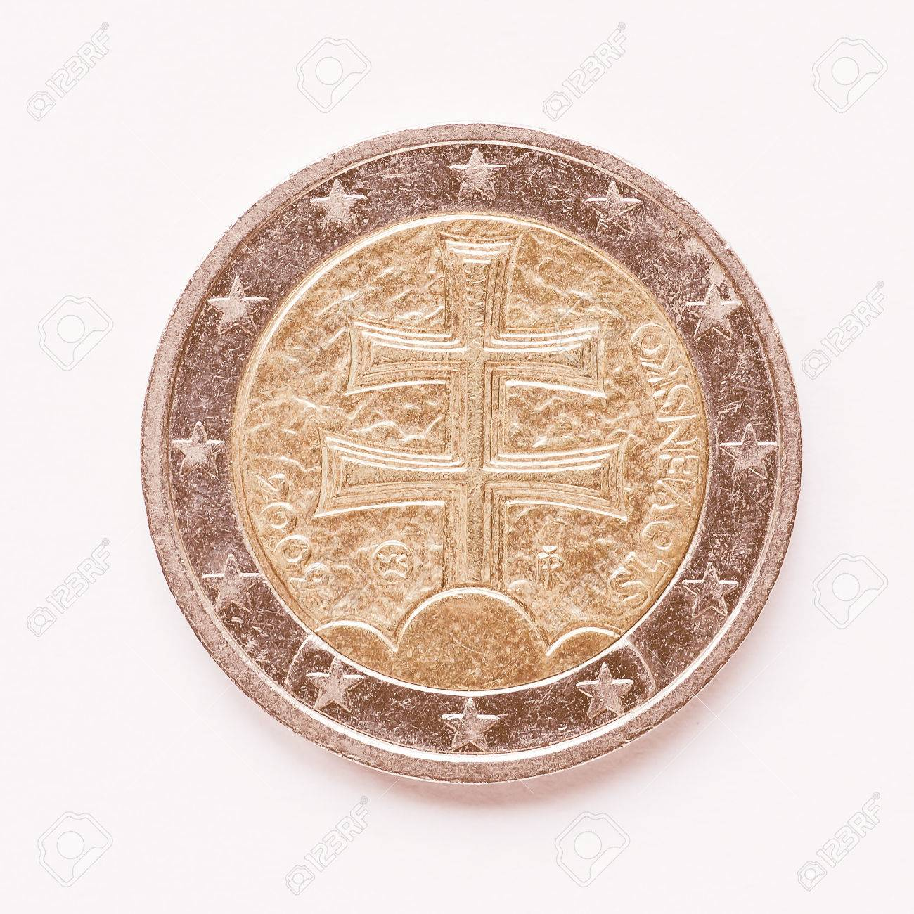 Währung Europas 2 Euro Münze Aus Der Slowakei Jahrgang Lizenzfreie