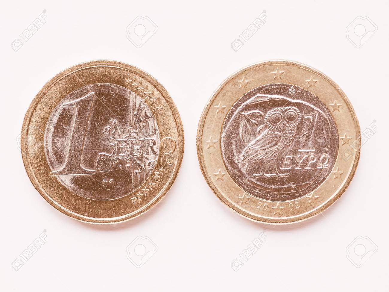 Währung Von Europa 1 Euro Münze Aus Griechenland Jahrgang