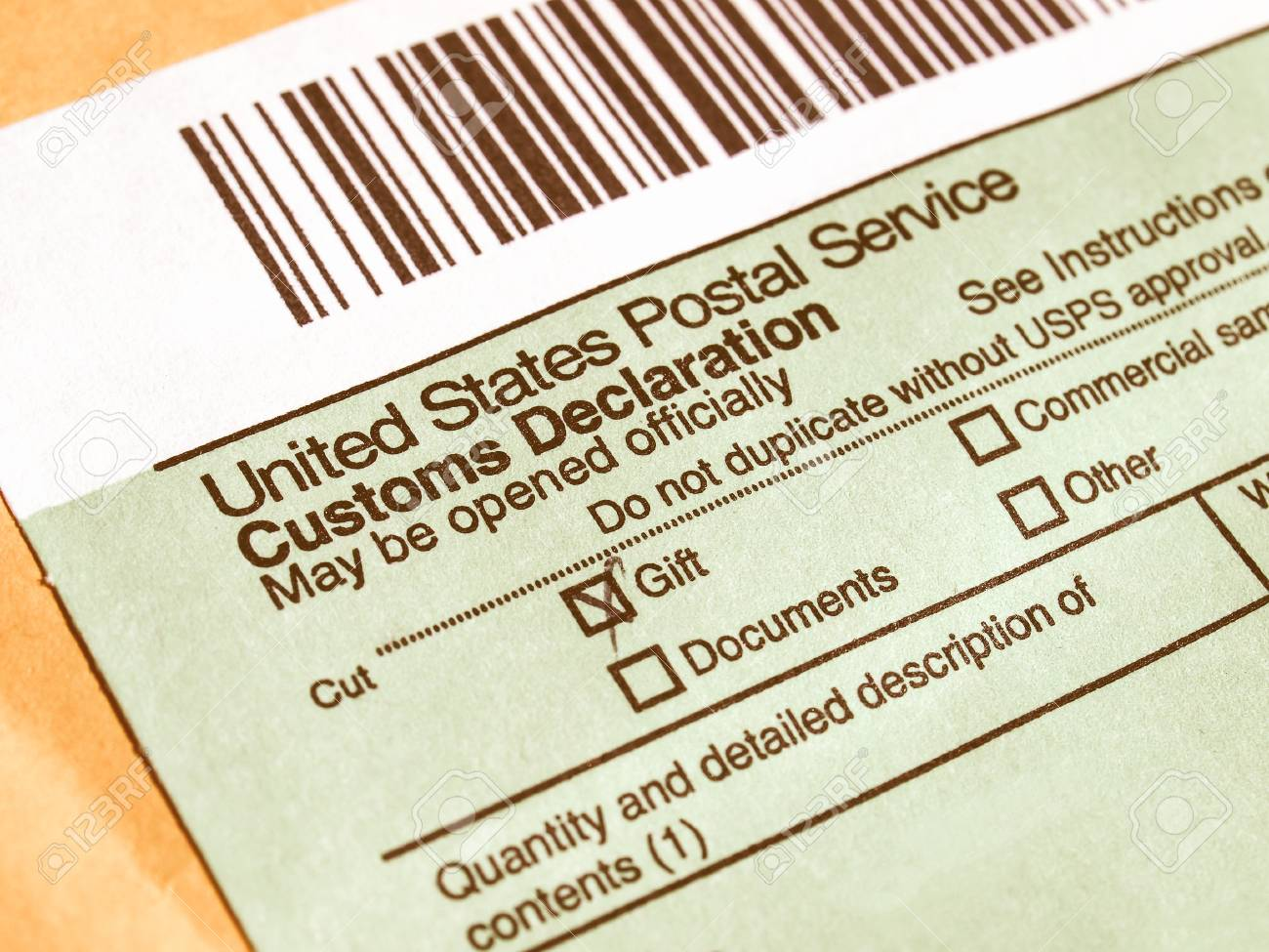 Customs declaration on a foreign packet parcel vintage stock photo customs declaration on a foreign packet parcel vintage stock photo 52505270 altavistaventures Choice Image