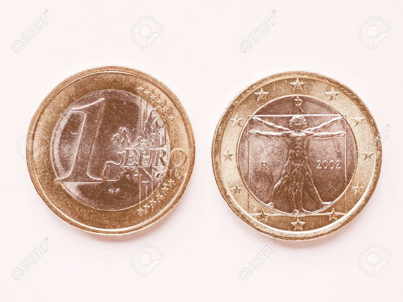 Währung Von Europa 1 Euro Münze Aus Italien Vintage Lizenzfreie