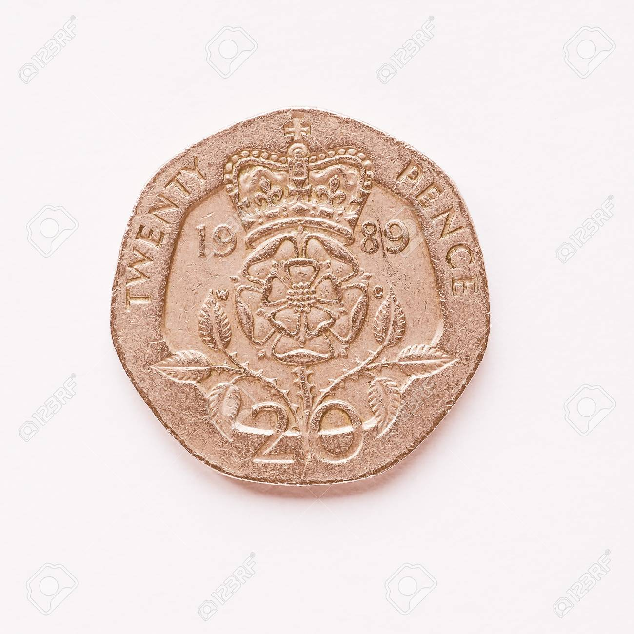 Währung Des Vereinigten Königreichs 20 Pence Münze Jahrgang
