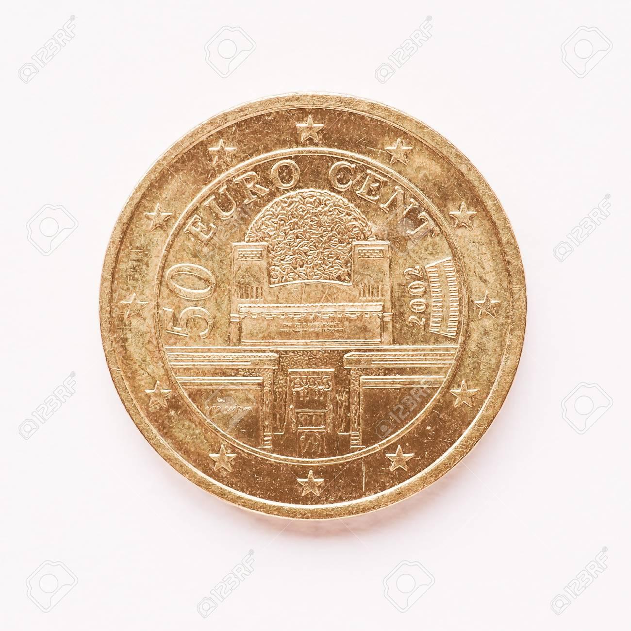 Währung Europe 50 Cent Münze Aus österreich Jahrgang Lizenzfreie