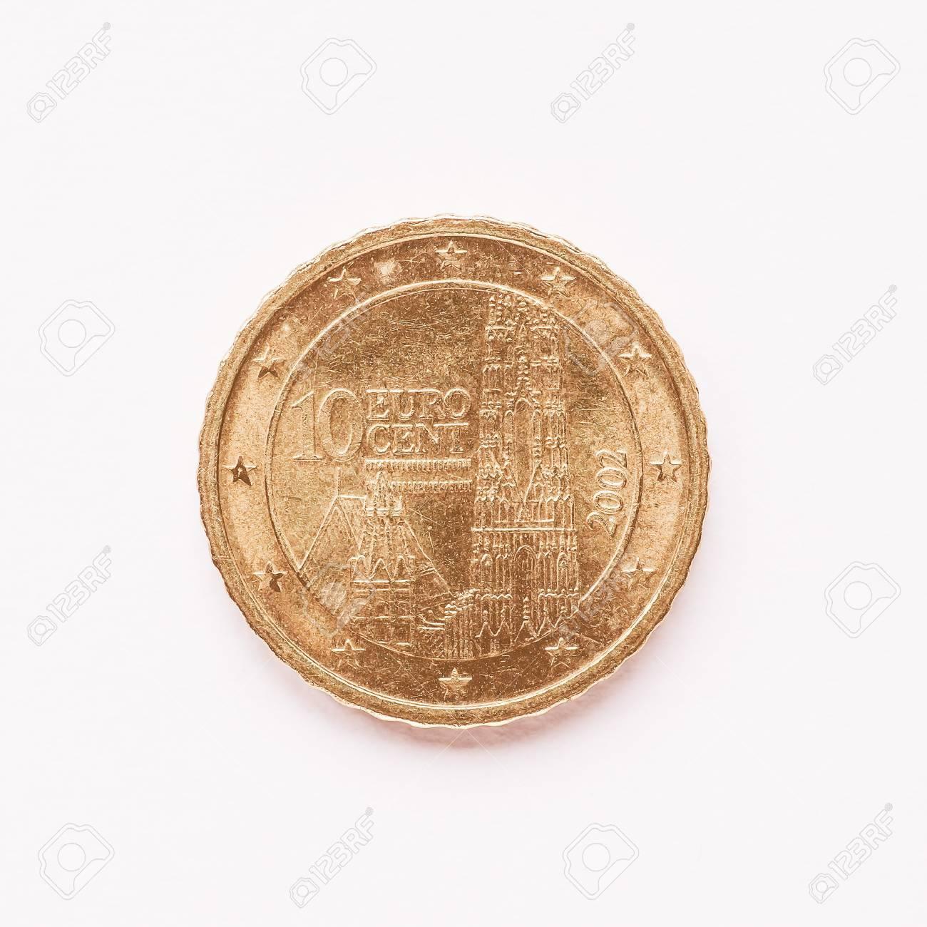 Währung Von Europa 10 Cent Münze Aus österreich Vintage Lizenzfreie