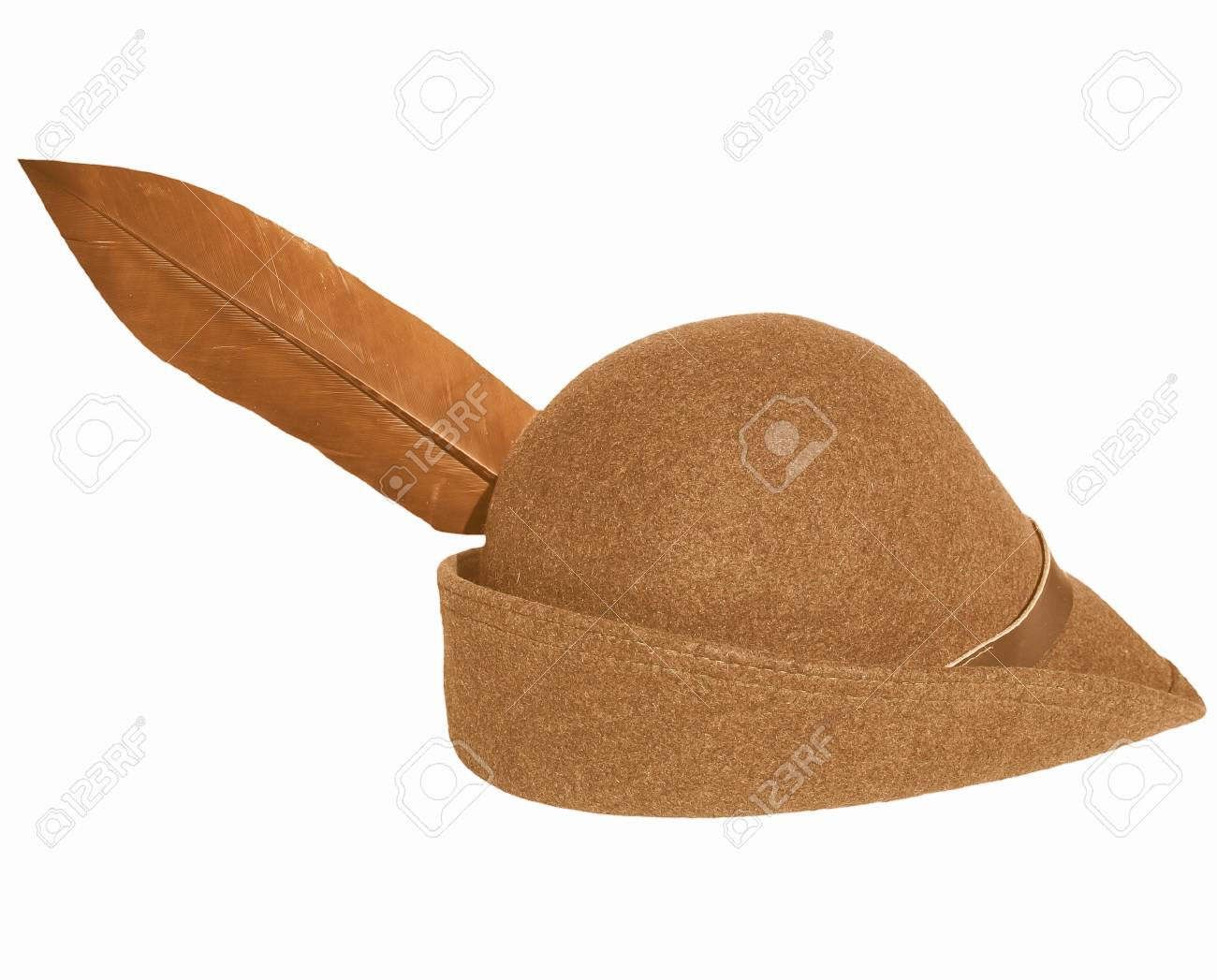 c9f9f0a5aa7 Stock Photo - Vintage alpine cap hat with a feather - isolated over white  background vintage