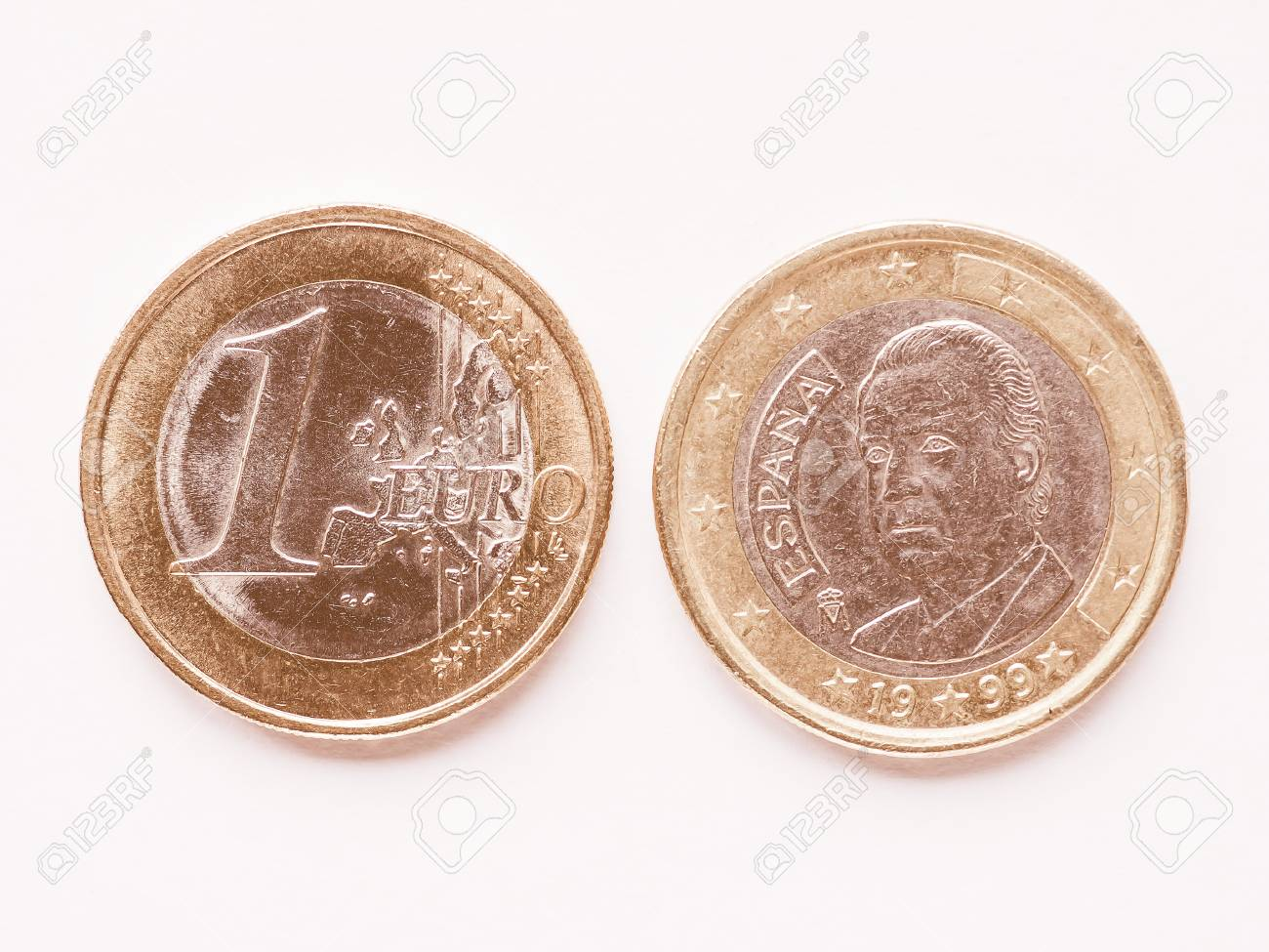 Währung Der Europe 1 Euro Münze Aus Spanien Jahrgang Lizenzfreie