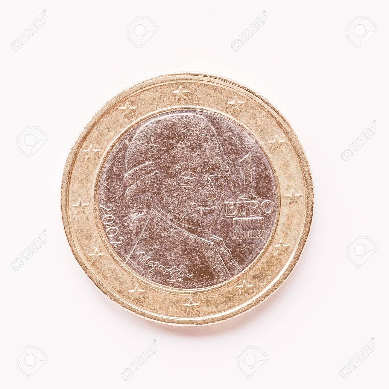 Währung Der Europe 1 Euro Münze Aus österreich Jahrgang Lizenzfreie