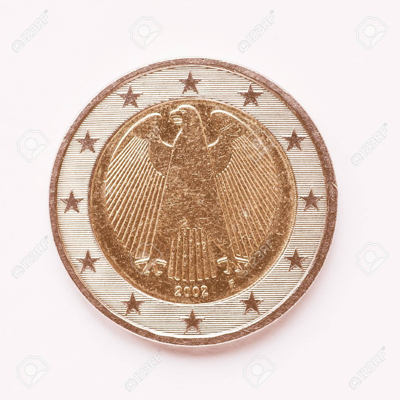 Währung Europas 2 Euro Münze Aus Deutschland Vintage Lizenzfreie