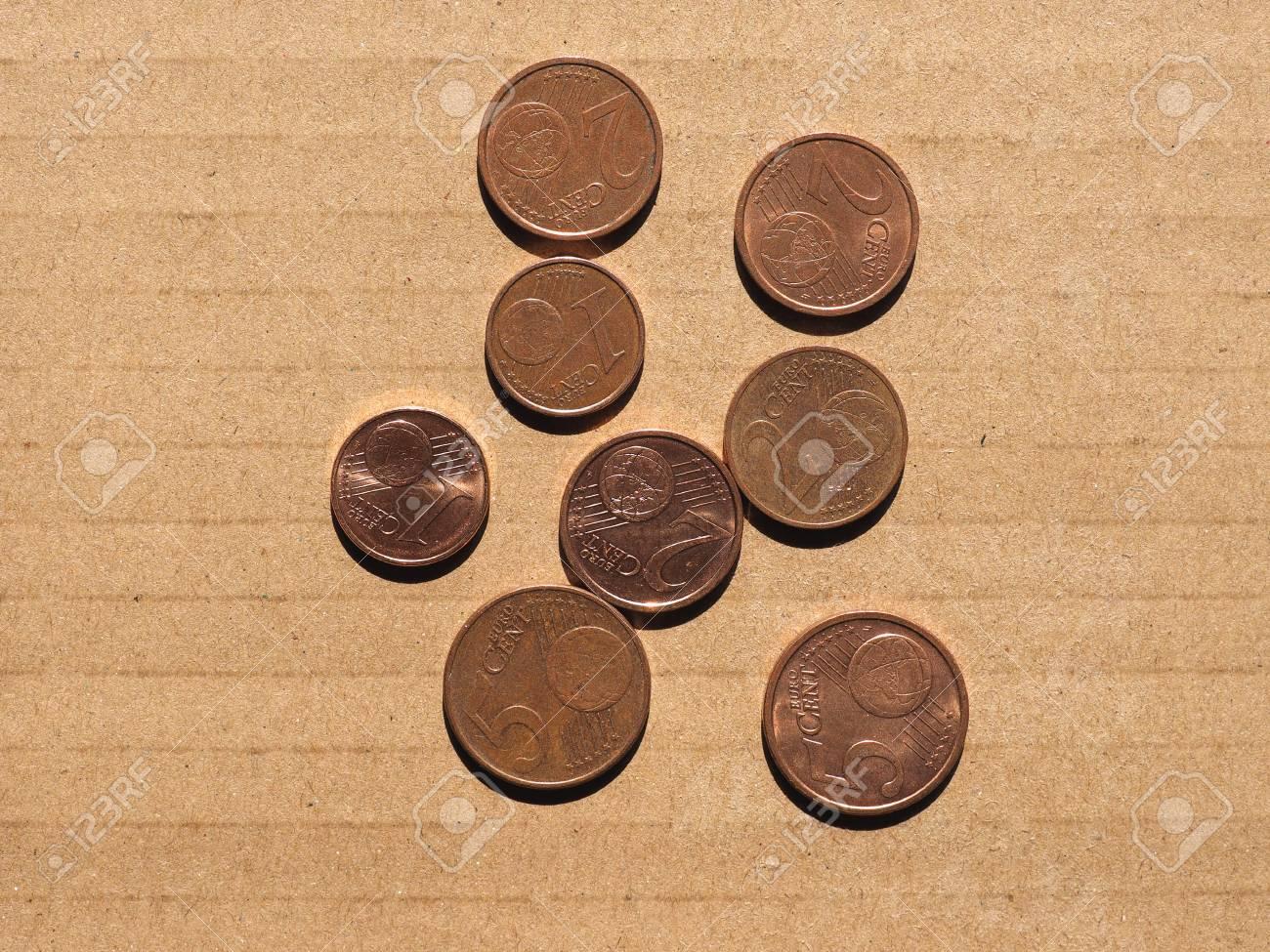 Euro Cent Münzen Währung Der Europäischen Union Ein Zwei Und Fünf