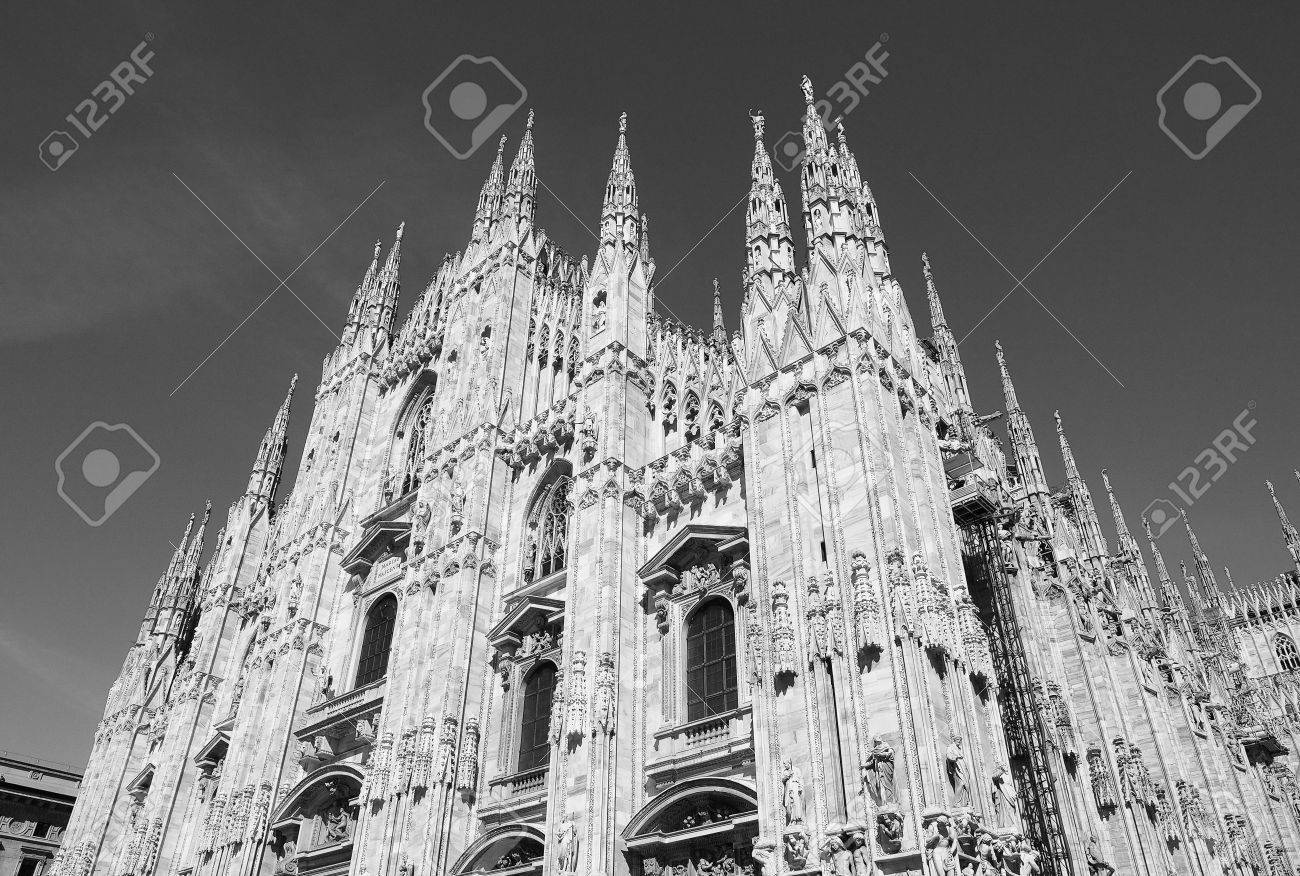 Duomo Di Milano Gothic Cathedral Church In Milan Italy Black And White Stock Photo