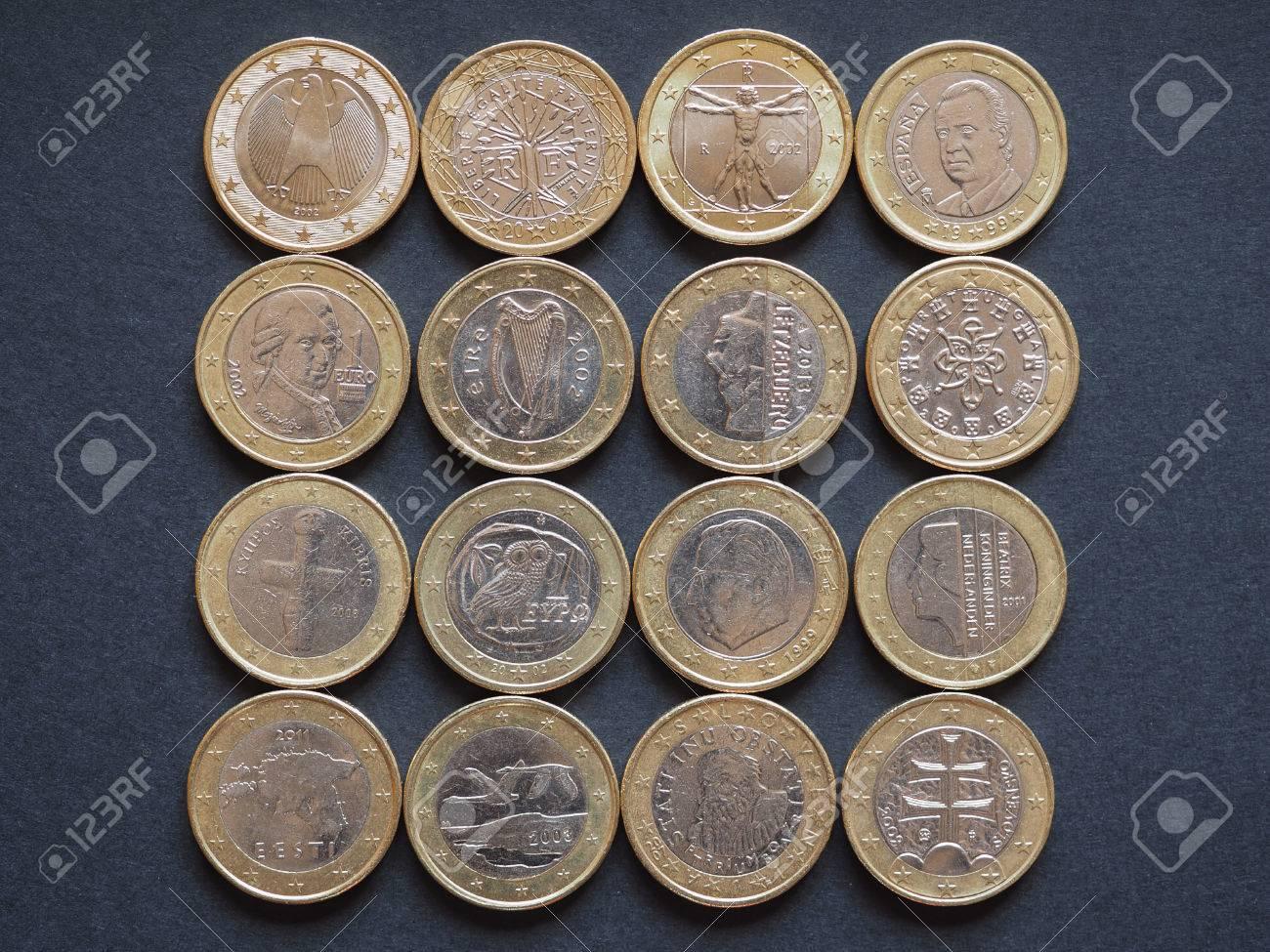 Euro Münzen Währung Aus Vielen Verschiedenen Ländern In Der
