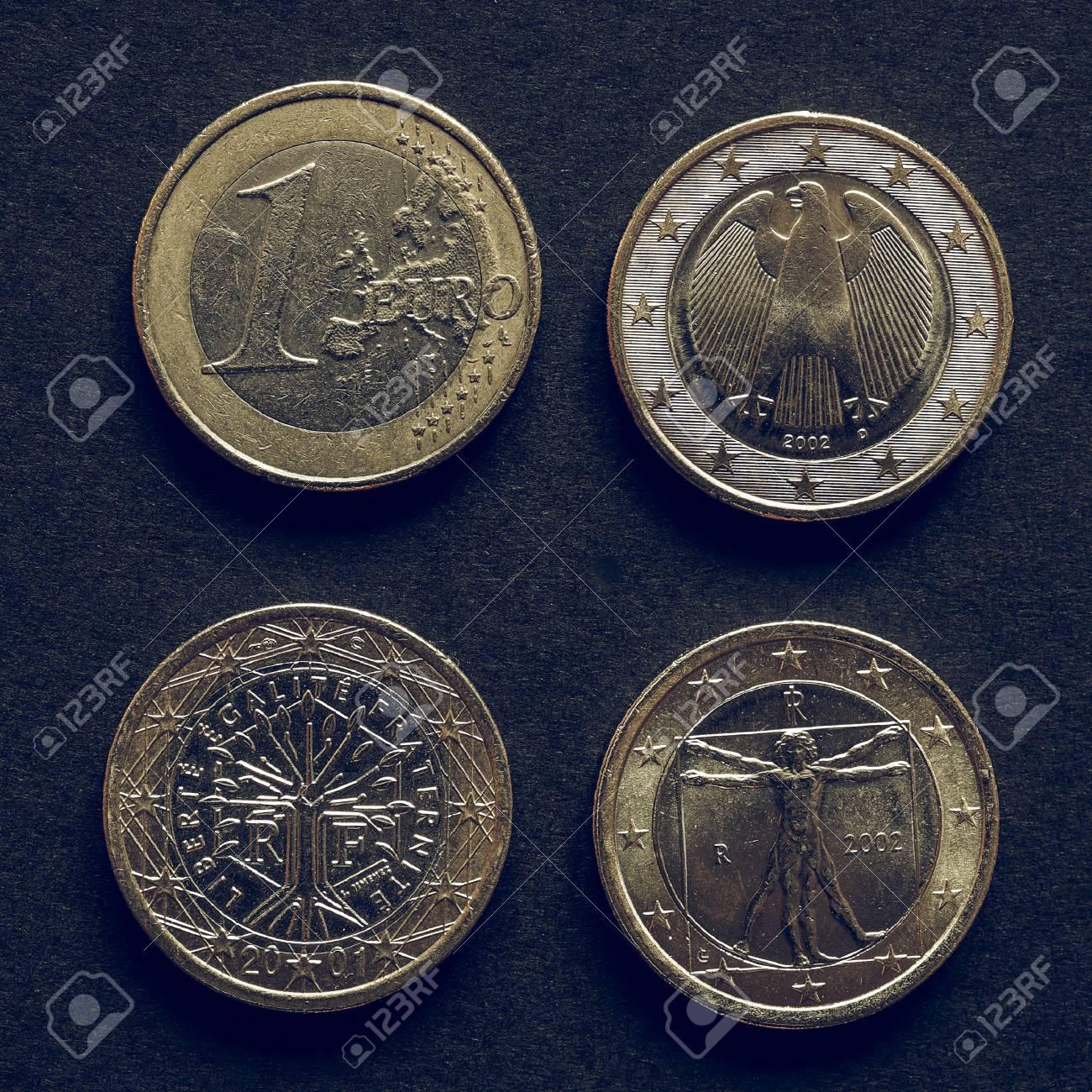 Jahrgang Suchen Euro Münzen Währung Aus Vielen Verschiedenen Ländern