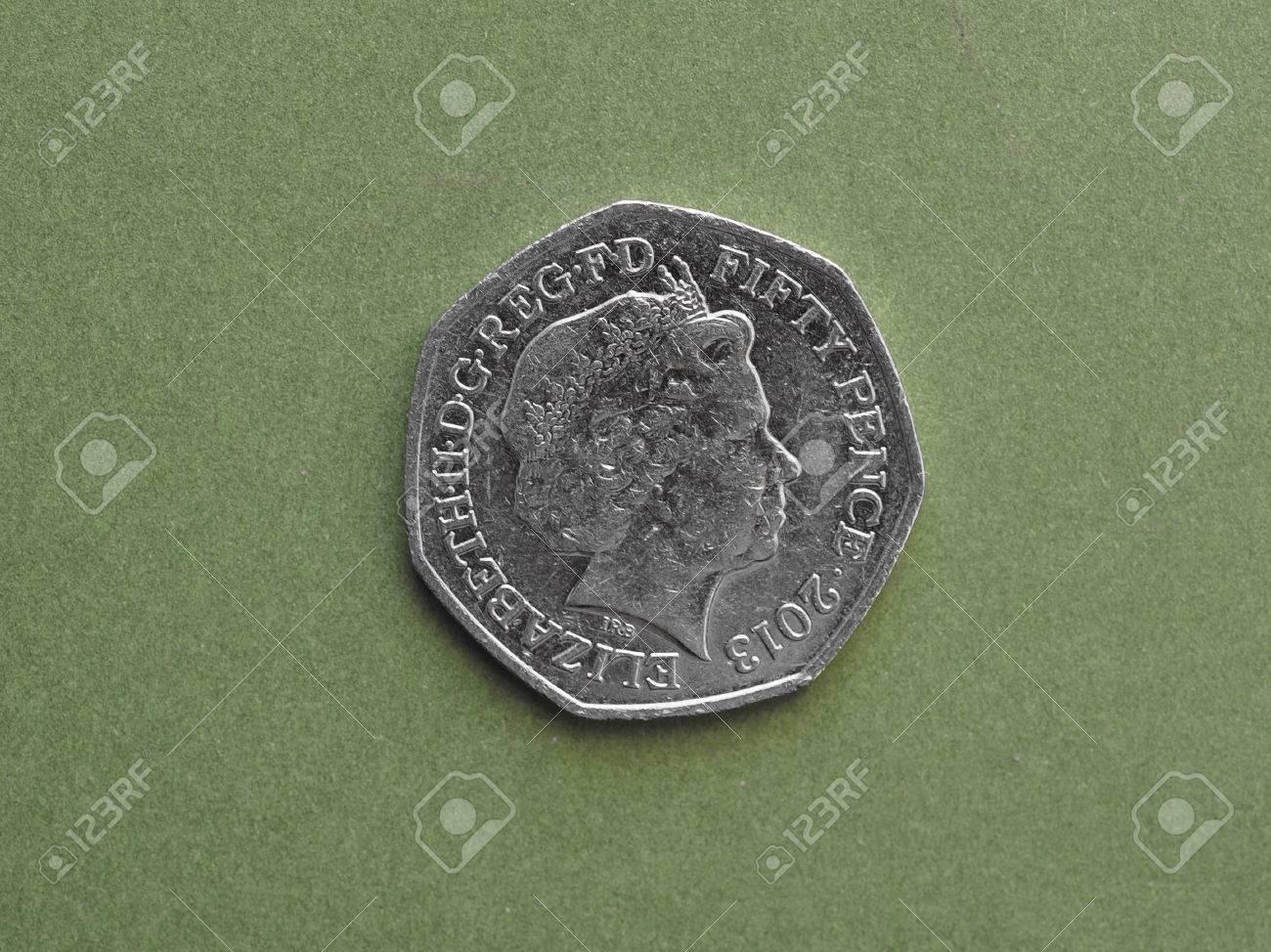 London Großbritannien Circa August 2016 50 Pence Münze Mit Ihrer