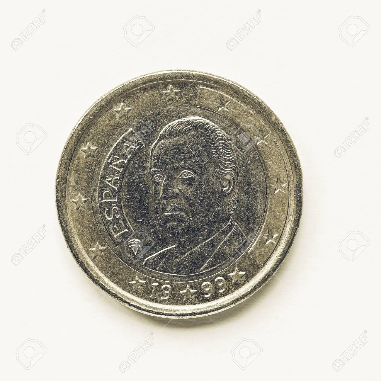 Vintage Aussehende Währung Von Europa 1 Euro Münze Aus Spanien