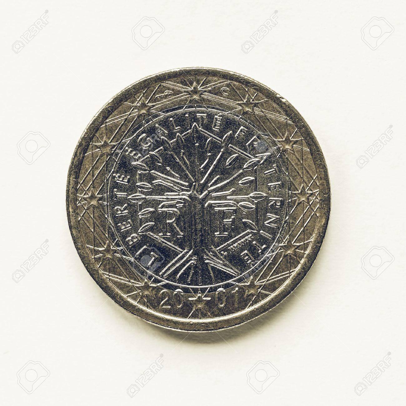 Vintage Aussehende Währung Von Europa 1 Euro Münze Aus Frankreich