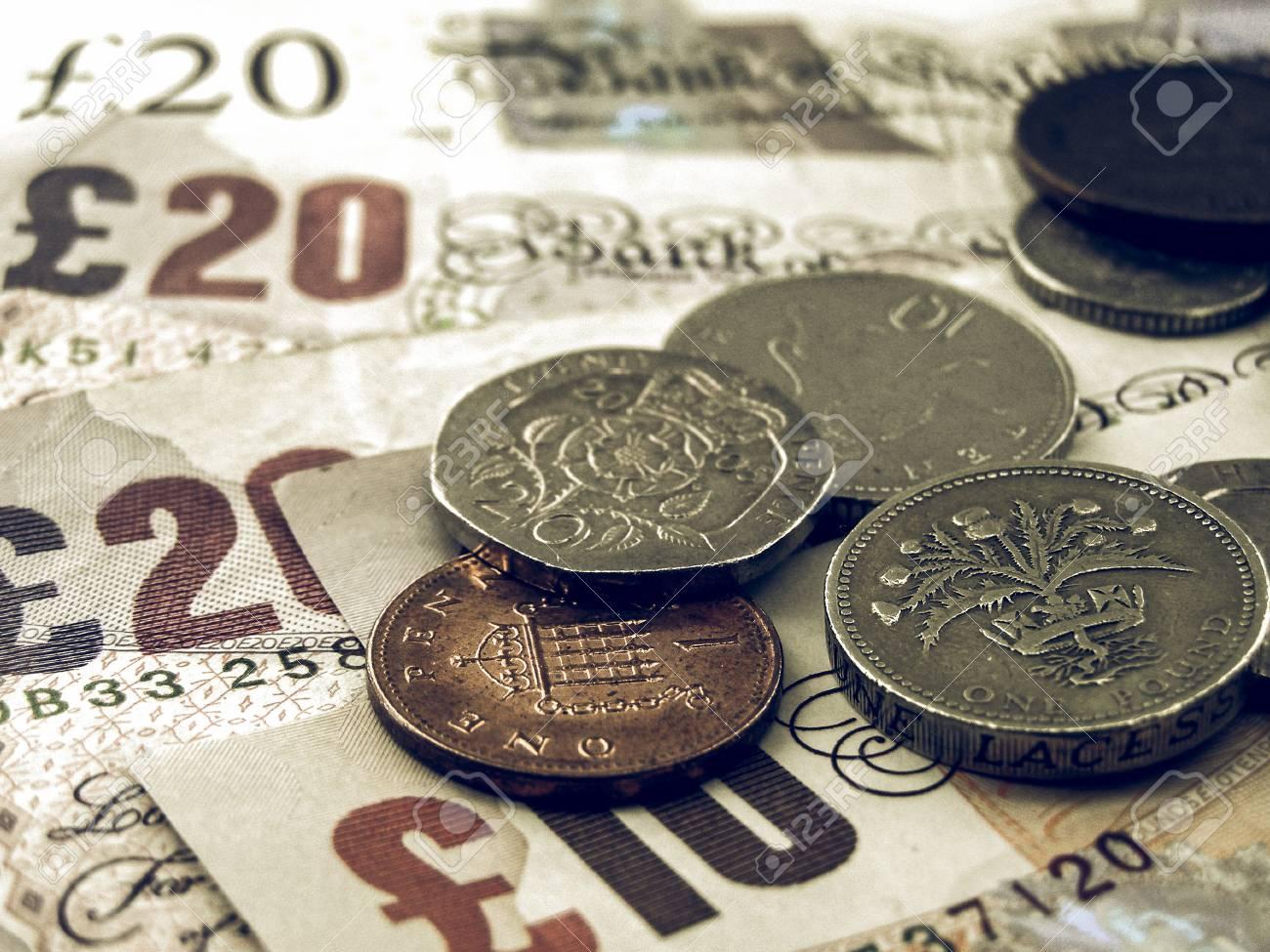 Vintage Aussehende Detail Der Britischen Pfund Banknoten Und Münzen