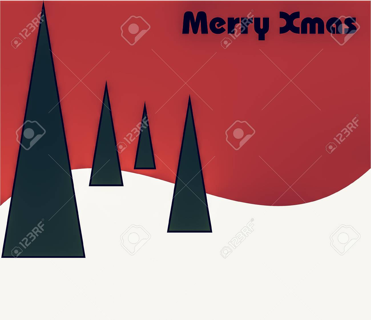 Vintage Looking Modern Contemporary Minimalist Christmas Background
