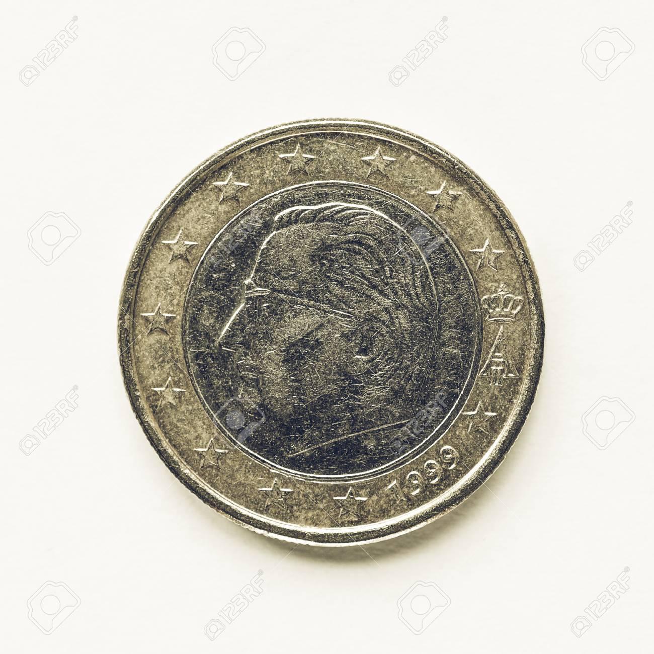 Vintage Look Währung Europas 1 Euro Münze Aus Belgien Lizenzfreie