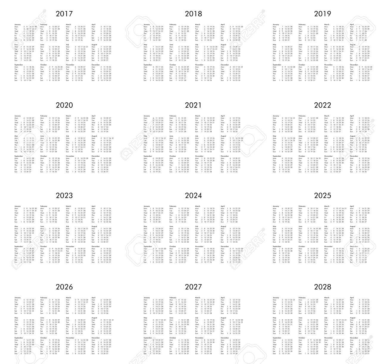 Calendrier 2017 2021 2022 2021 Calendar Of Years 2017, 2018, 2019, 2020, 2021, 2022, 2023, 2024