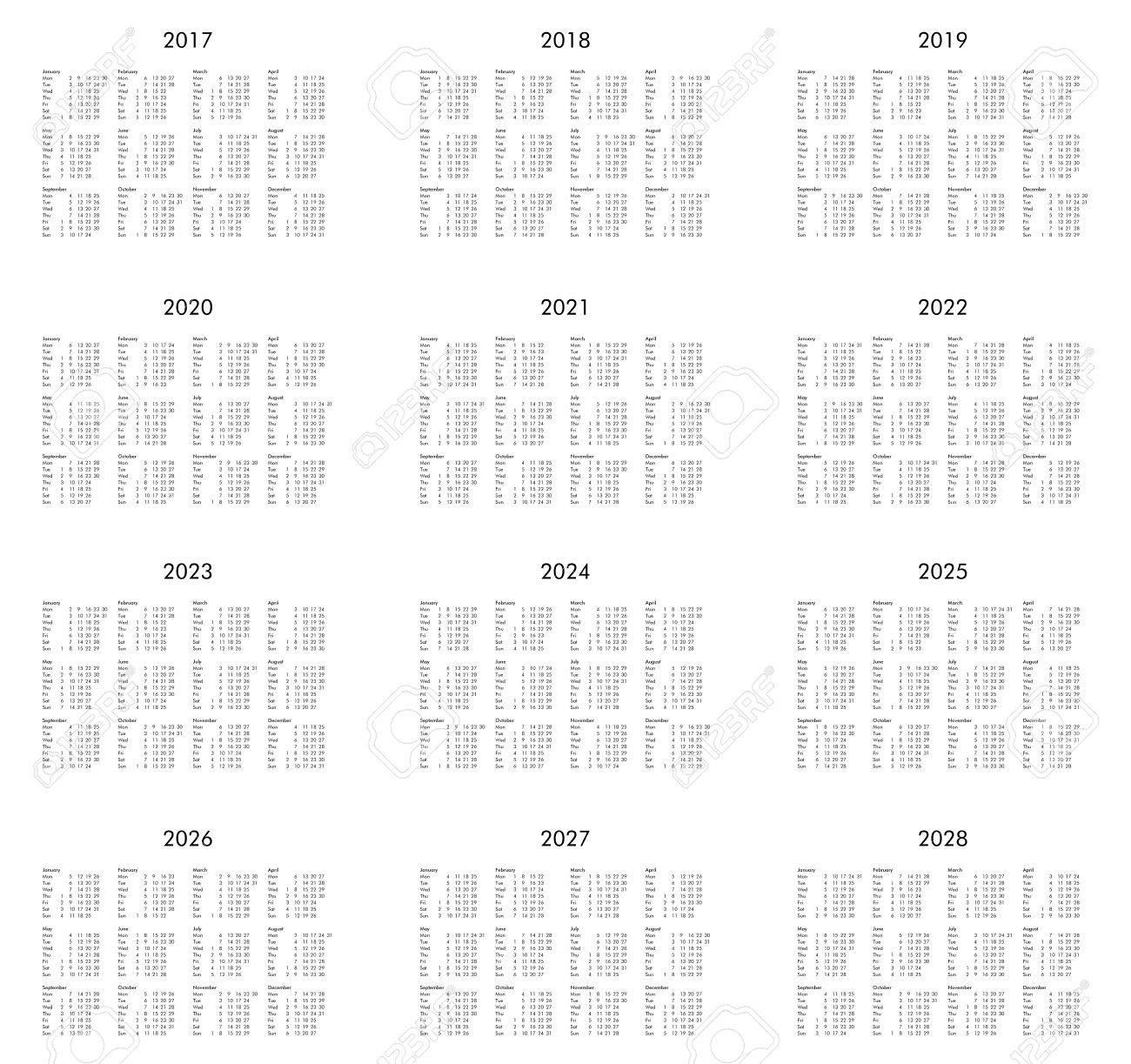 Calendrier 2017 2022 2023 2022 Calendrier Des Années 2017, 2018, 2019, 2020, 2021, 2022, 2023