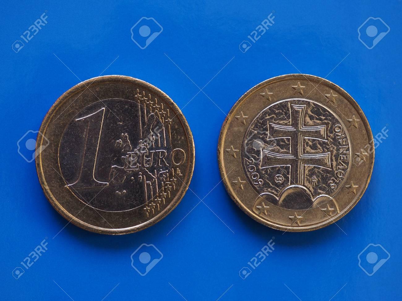 1 Euro Münze Geld Eur Währung Der Europäischen Union Slowakei